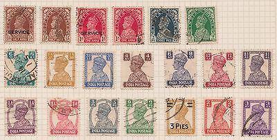 (OQ-68) 1912-1937 India mix of 31stamps 3ps to 8A mixed condition (B)