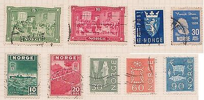 (OQ-40) 1945 Norway mix of 9stamps 5ORE to 1½KR (C) used
