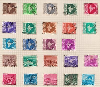 (OQ-73) 1957 India mix of 30stamps 3ps to 1R (G) mixed condition