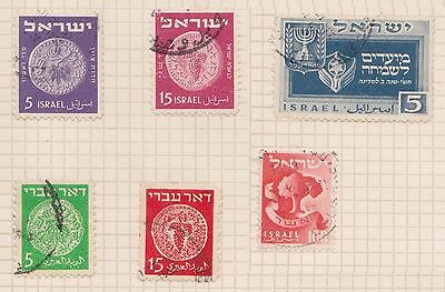 (OQ-82) 1948 Israel mix of 6stamps 5m to 15m used