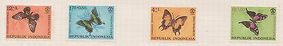 (OQ-79) 1965 Indonesia mix of 8stamps 1R to 12+3R Butterflies & fish MH (E)