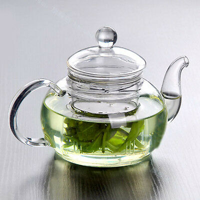 Heat Resistant Bottle Glass Teapot with Infuser Coffee Tea Leaf 350ML