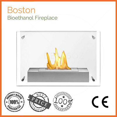 Brand New Wall Mounted One Burner Bio Ethanol Fireplace W/ Tempered Safety Glass