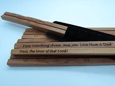 """PERSONALISED ENGRAVED Authentic Natural Bamboo Chopsticks - Chinese New Year"""