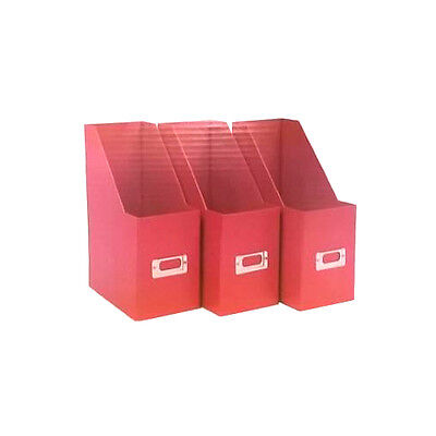 Colour Match Magazine Paper Files Tidy Boxes Set of 3 Card Filers Poppy Red A4