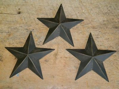 "Set of 3 5.5"" BLACK BARN STARS Metal Tin  Primitive Country 5 1/2"" Farmhouse"