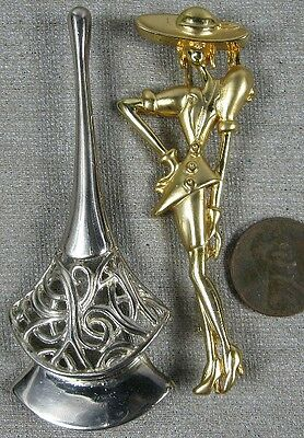 2 Large Vintage Heavy Cast Gold & Silvertone Fancy Pins Lady