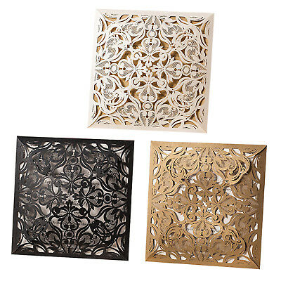 Laser Cut-out Personalized Wedding Invitation Cards With Envelopes and Seals
