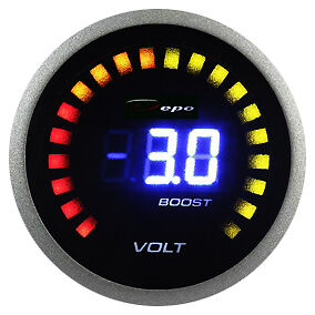 DEPO racing 52 mm Smoked LED Dual Function Turbo Boost and Volt Gauge