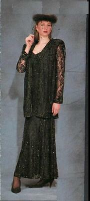 "Jasdee Vintage Dress & Jacket Length 58""Inch HandWork Beading On Lace Style 141L"
