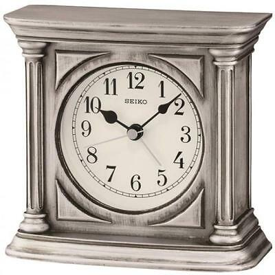 Seiko QXE051S High Quality Resin Antique Finish Mantel Beep Alarm Clock - Silver