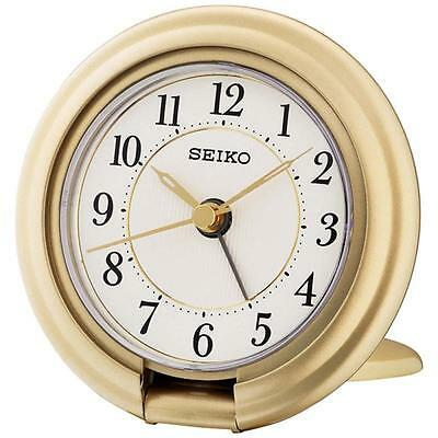 Seiko QHT014G Luminous Travel Alarm Clock with Screen Press Function Gold - New