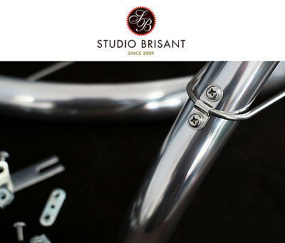NEW Dia-Compe ENE Mudguards Polished Aluminium + black 28 Zoll in 35 mm width