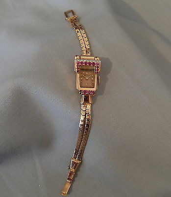 LoveDECO Vtg TOURNEAU 14K Rose GOLD Diamond & Red RUBY Ladies Wristwatch
