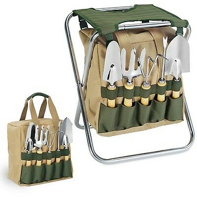 Picnic Time 5-Piece Garden Tool Set With Tote And Folding Seat Green