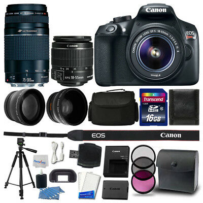 Canon EOS Rebel T6 DSLR Camera + 18-55mm + 75-300mm Lens + 16GB Accessory Kit