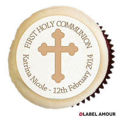 PERSONALISED Baby Holy Communion Party Cupcake Edible Toppers Cake - Kristal