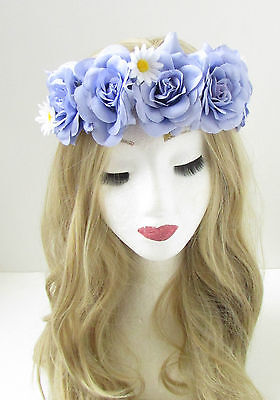 Purple Lilac Rose Orchid Flower Headband Hair Crown Band Garland Floral Vtg 1222