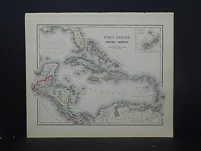 West Indies & Central America Antique Map,1886, O.W. Gray R9#36