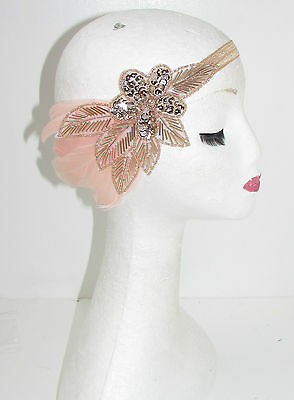 Rose Gold Nude Blush Pink Feather Headband 1920s Great Gatsby Flapper Vintage 41
