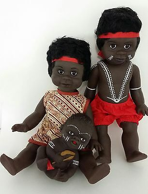 "Australian Aboriginal Doll Girl Yellow Dress, Boy Black 35cm or 13"" and Baby 6"""