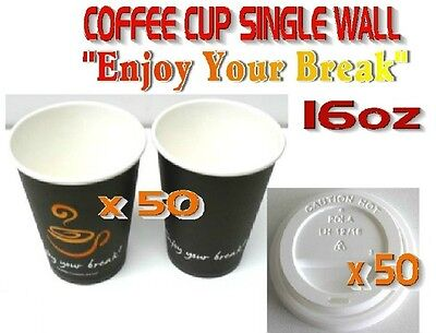 100 Pieces x 16oz Single Wall Coffee Cups Lids Print 50 SETS Office Shop Party