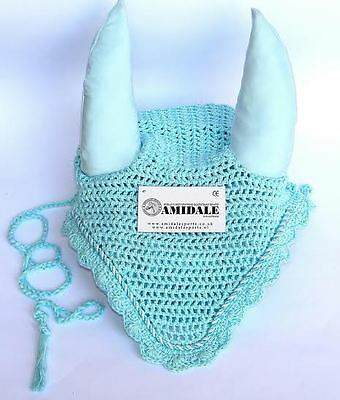 Ear Net Crochet Fly Veil Equestrian Horse With Piping Baby Blue - Full,cob,pony