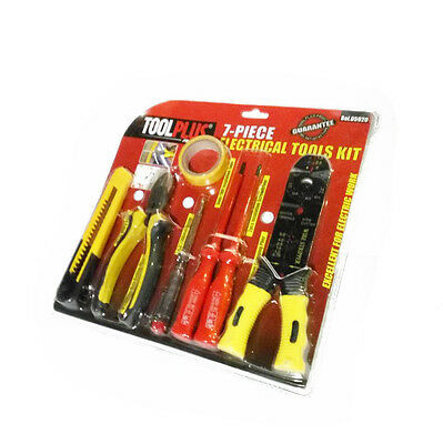 7 PC Electrician Tool Set Utility Knife Electric Tape Tester Screwdriver Pliers