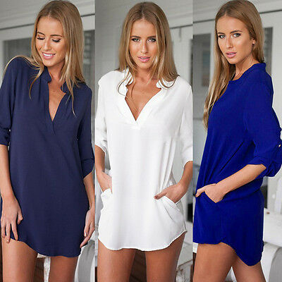 Fashion Women Summer Loose Top Long Sleeve Blouse Casual Tops T-Shirt wxf
