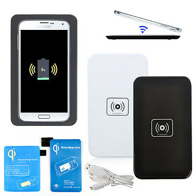 Wireless Fast Charging Pad Charger & Receiver Adapter for Samsung Galaxy S5/4/3