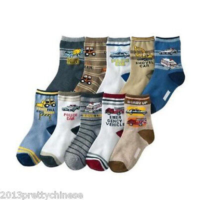 Baby Kids Boys Children Car Style Socks Age 4 - 8 Years Lot 10 Designs