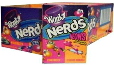24 Packs x Wonka Nerds Neons Lollies Pinktricity Electro Orange Confectionery