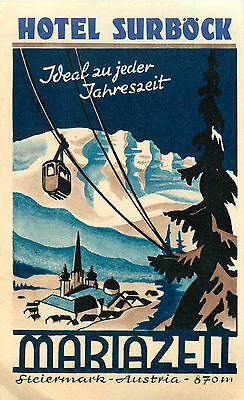 Hotel Surbock ~MARIAZELL AUSTRIA~ Beautiful & Artistic Old Luggage Label, 1950