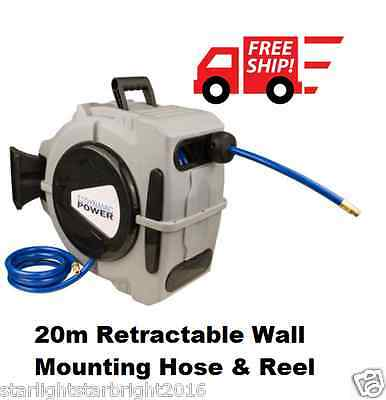 Retractable 20m Air Hose Auto Reel Gardening Wall Blowing Pressure Hose NEW