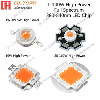 Full Spectrum 380-840nm 1w 3w 5w 10w 20w 30w 50w 100w High Power LED Chip Light