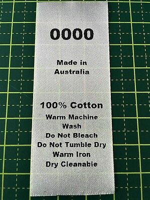 Size & Care Labels Combo - 100% Cotton - 17 sizes available
