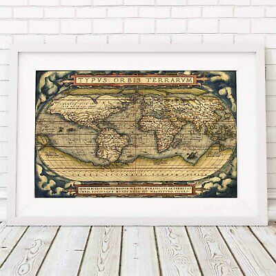 TYPUS ORBIS TERRANUM - 1570 World Map Poster Print Sizes A5 to A0 *FREE DELIVERY