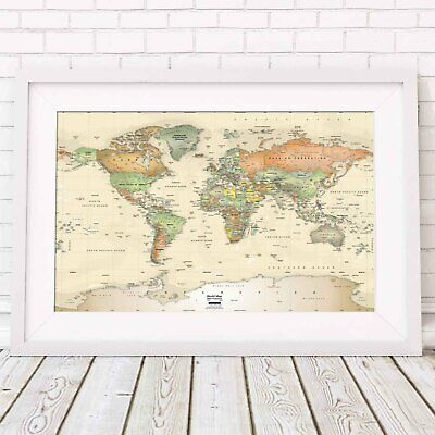 WORLD MAP - Miller Projection Wall Poster Print Sizes A5 to A0 **FREE DELIVERY**