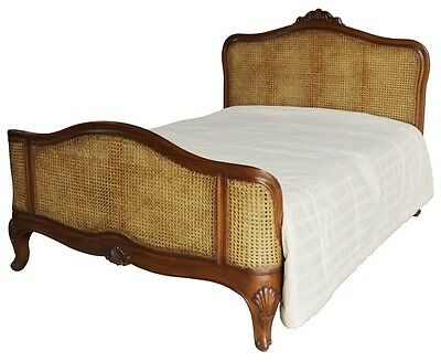 "Solid Mahogany French Elegance Bed Rattan Headboard & Footboard 4'6"" 5' 6' B005"