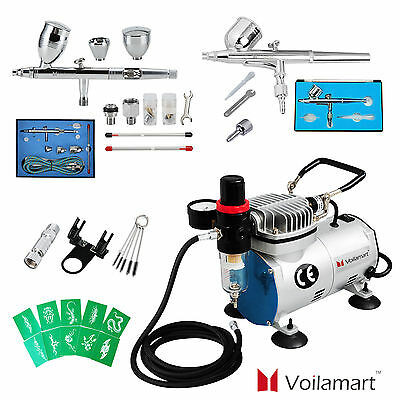 Voilamart Airbrush 1/6 HP Compressor 2 Spray Gun Kit Air Brush Stencil Paint Set