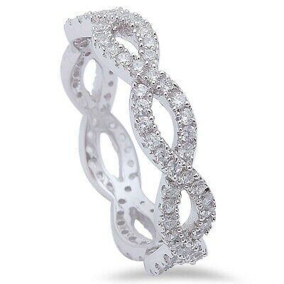 5mm Infinity Engagement Band Ring Crisscross Twisted Russian CZ Sterling Silver