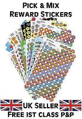 School Teacher Reward Stickers Pick & Mix - Smiles, Stars, Sparkly, Foil & More