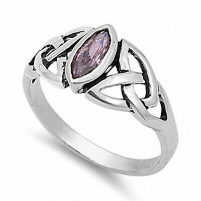 Solitaire Celtic Twisted Knot Engagement Ring Sterling Silver 1Ct Pink Topaz CZ