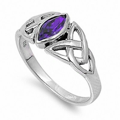 Celtic Twisted Knot Solitaire Engagement Ring Silver 1Ct Purple Amethyst