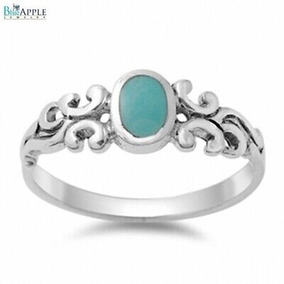 Solitaire Celtic Twisted Engagement Ring 925 Sterling Silver Synthetic Turquoise