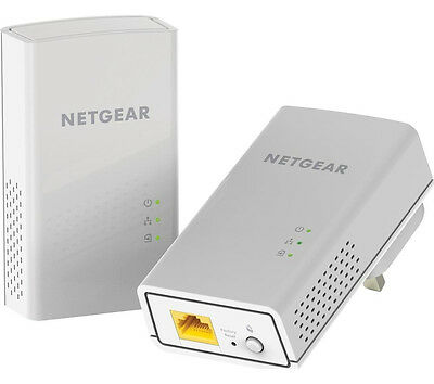 NETGEAR PL1200 Plug & Play 1 Port Powerline Adapter Kit Twin 1200 Mbps White