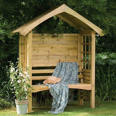 Forest Cadiz Arbour Wooden Garden 2 Seater Pressure Treated Outdoor Timber Seat