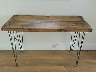 Rustic Wooden Pine PC Desk - Solid Chunky Wood Dressing Table Metal Hairpin Legs