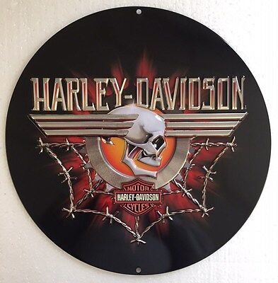 Ande Rooney HARLEY DAVIDSON GEARHEAD SKULL Tin Motorcycle HD Garage Sign NEW