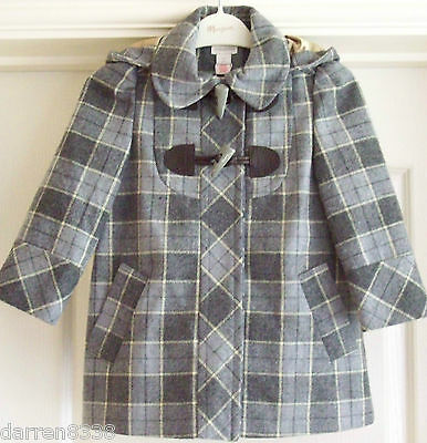 New~Monsoon~Lisa Girls Grey Winter Coat Various Sizes Hooded Check Wool Mix